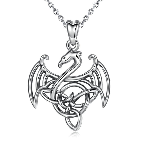 Dragon Necklace Sterling Silver | Womens Dragon Pendant