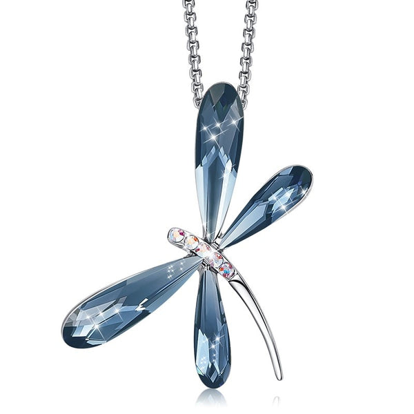 Dragonfly Necklace w/ Swarovski Gemstones