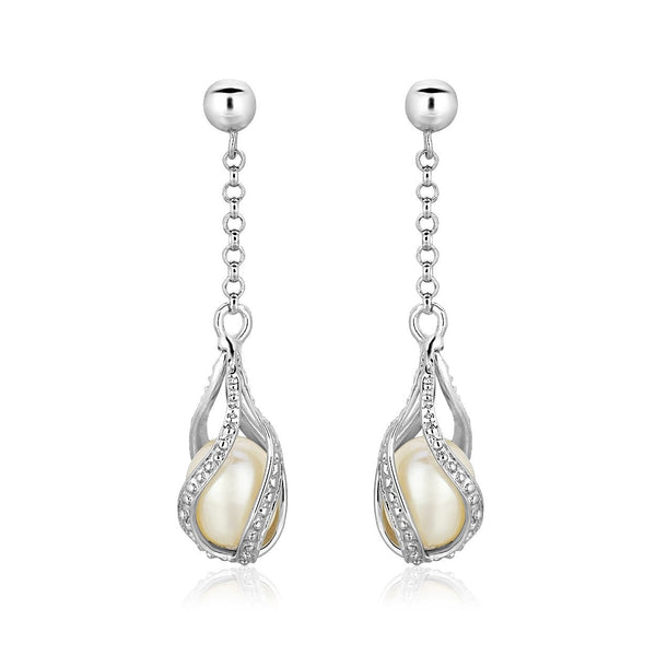 Pearl Earrings Sterling Silver | Drop Dangle Earrings