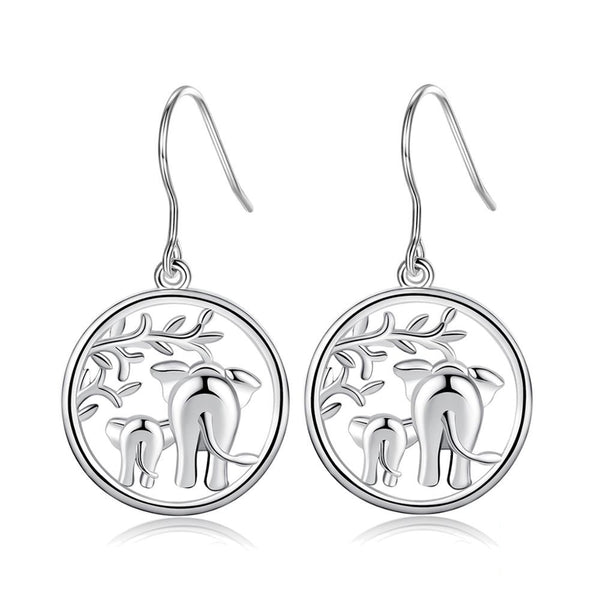 Elephant Earrings Sterling Silver | Womens French Wire Drop Earrings