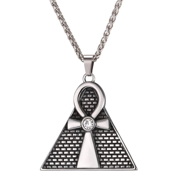 Egyptian Pyramid Ankh Necklace - Silver