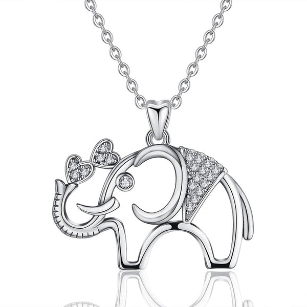 Elephant Necklace Sterling Silver with Cubic Zirconia