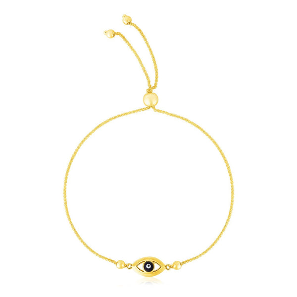 Evil Eye Bracelet 14K Gold - Adjustable, Bolo Type