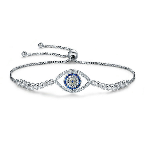 Evil Eye Bracelet Sterling Silver Adjustable Bolo