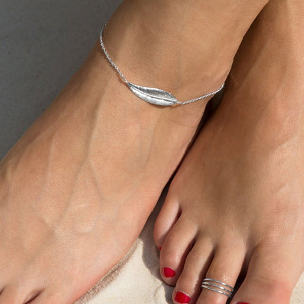 Feather Anklet Sterling Silver | Ankle Bracelet
