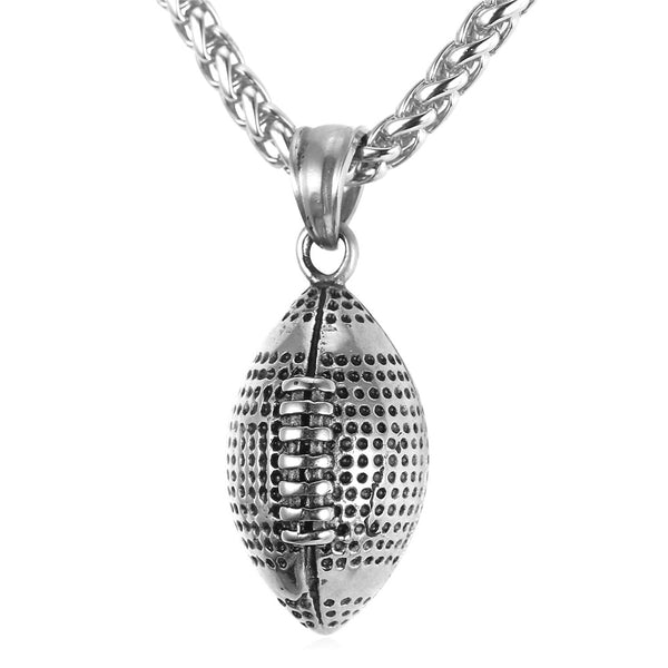 Football Necklace - Mens Football Chain Pendant Stainless Steel