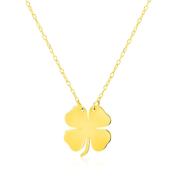 Four Leaf Clover Necklace 14K Gold | Women's Good Luck Pendant