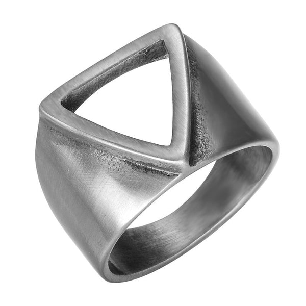 Steel Geometric Triangle Ring for Men - Silver