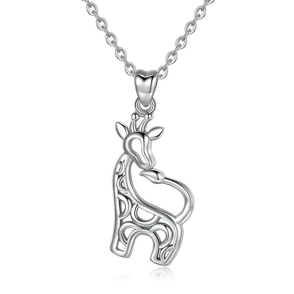 Giraffe Necklace Sterling Silver Pendant