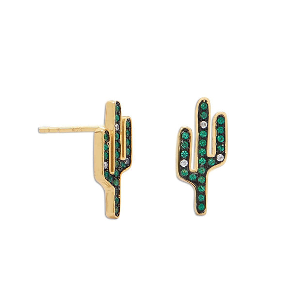 Gold Cactus Earrings in Sterling Silver w/ Green CZ [Stud]
