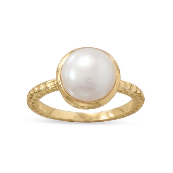 Gold Pearl Ring (Freshwater) | Sterling Silver, 14K Plated, Round