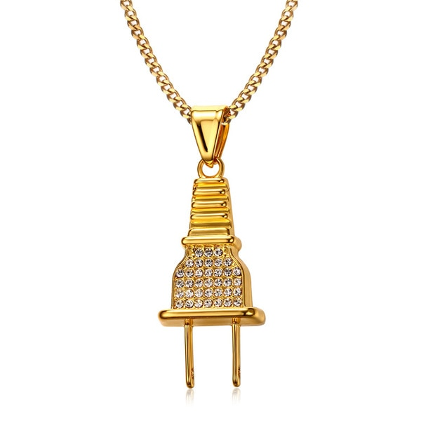 Gold Plug Necklace Iced Out | Hip Hop Plug Pendant