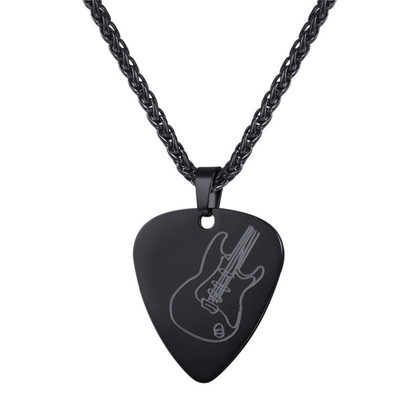Guitar Pick Necklace - Black Stainless Steel