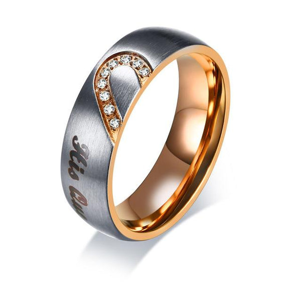 Heart Matching Rings for Couples - King - Queen
