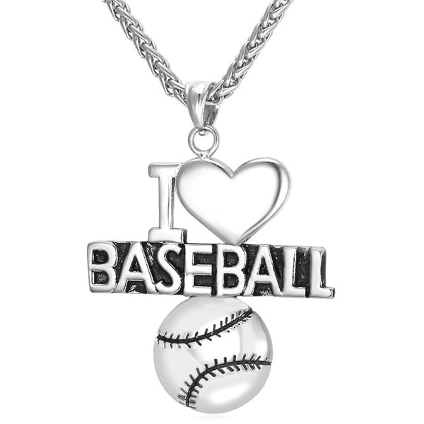 I Love Baseball Necklace - Silver Chain