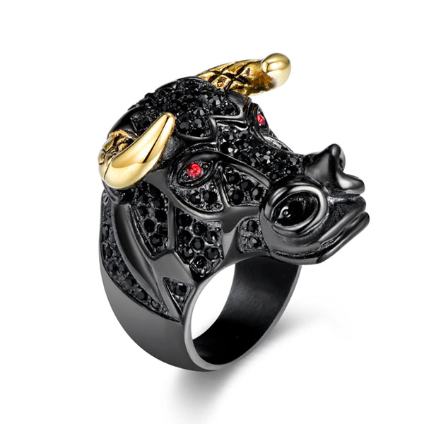 Mens Iced Out Bull Ring Bling - Black