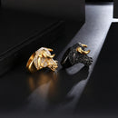 Mens Iced Out Bull Ring Bling - Gold