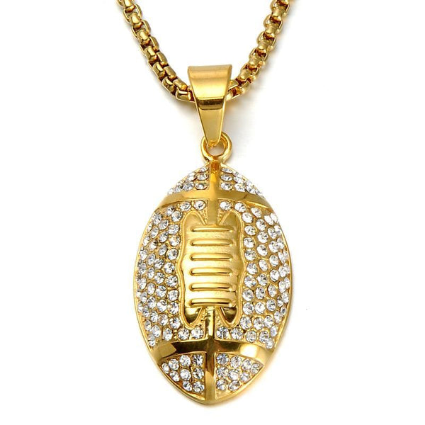 Iced Out Football Necklace Gold