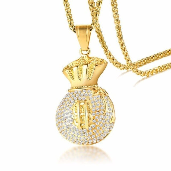 Iced Out Money Bag Necklace Gold