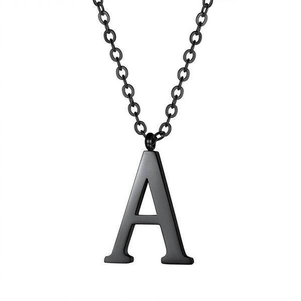 Mens Initial Letter Pendant Necklace - Black