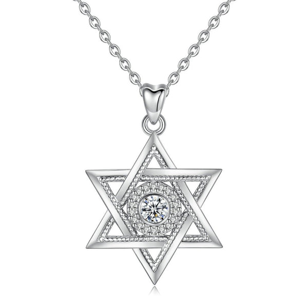 Star of David Necklace Sterling Silver Womens