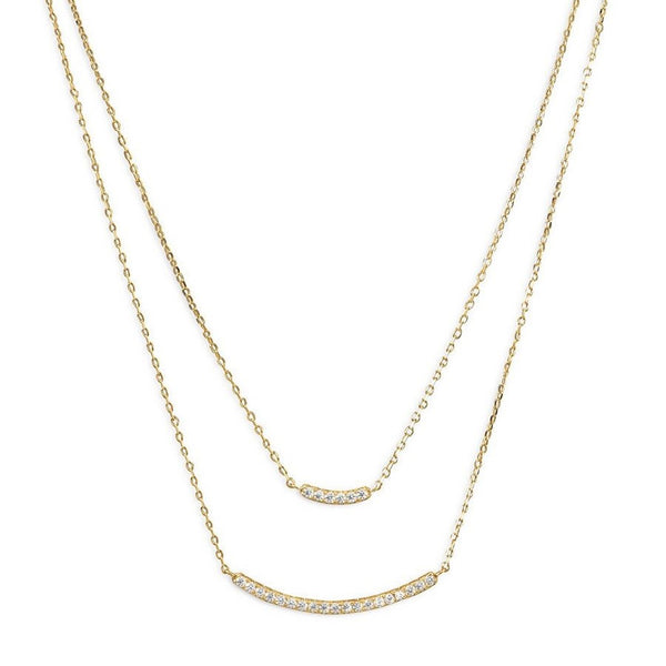 Layered Gold Bar Necklace | Curved Pendant w/ CZ