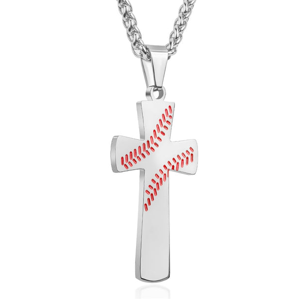 Baseball Cross Necklace for Men - Silver