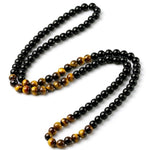 Mens Beaded Necklace Long Black Onyx Tiger Eye