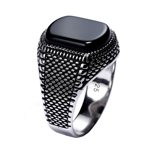 Mens Black Onyx Ring Sterling Silver Rectangular