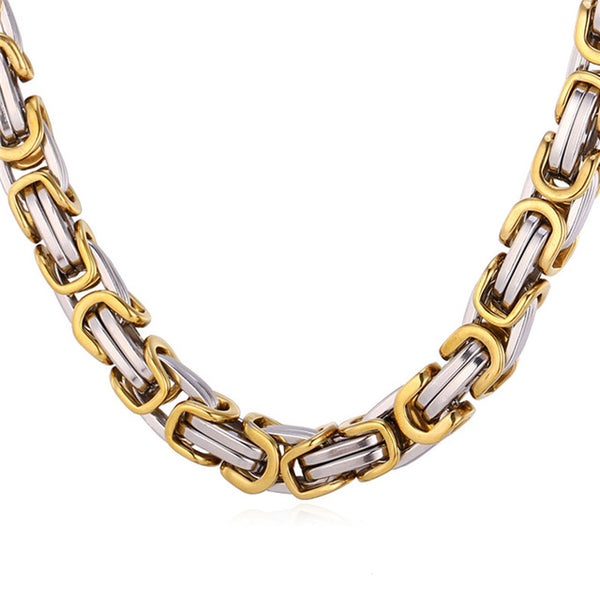 Mens Byzantine Chain Necklace - Gold / Silver