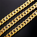 Mens Curb Chain 18K Gold Silver Stainless Steel