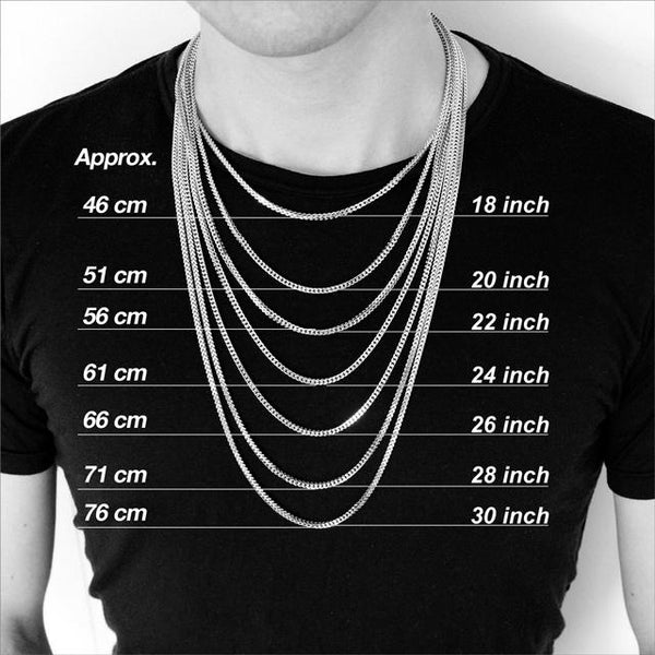 Image result for mens cm and inch necklace sizing
