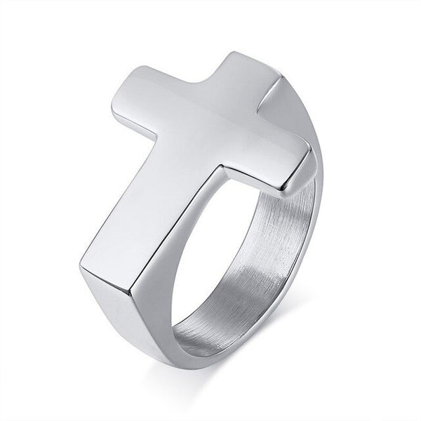 Mens Cross Ring Sideways | Stainless Steel - Silver, Gold, Black