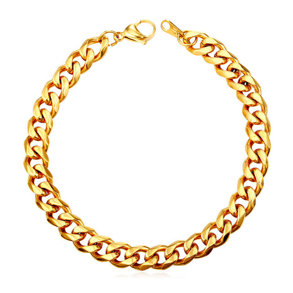 Mens Cuban Link Bracelet - 6 mm - Gold
