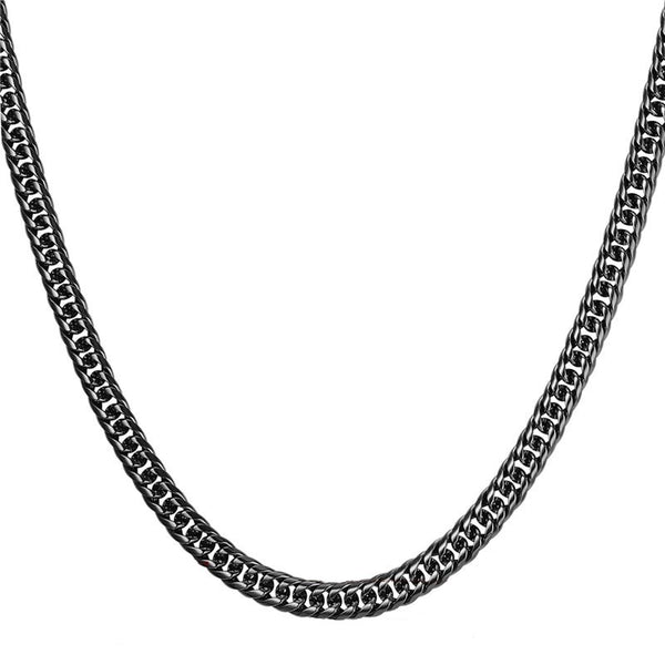 Mens Cuban Link Chain Necklace Black - 6 mm, Thick