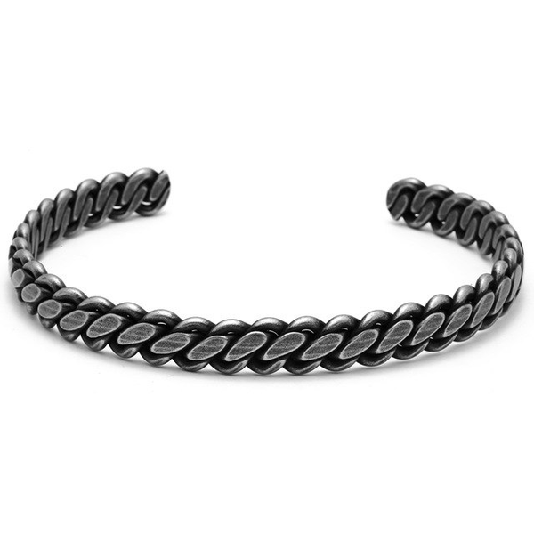 Mens Cuff Bracelet Black Stainless Steel Twisted