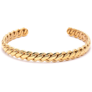 Mens Cuff Bracelet Gold Stainless Steel Twisted