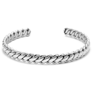 Mens Cuff Bracelet Silver Stainless Steel Twisted