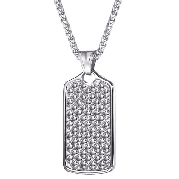 Men's Dog Tag Necklace Silver Stainless Steel