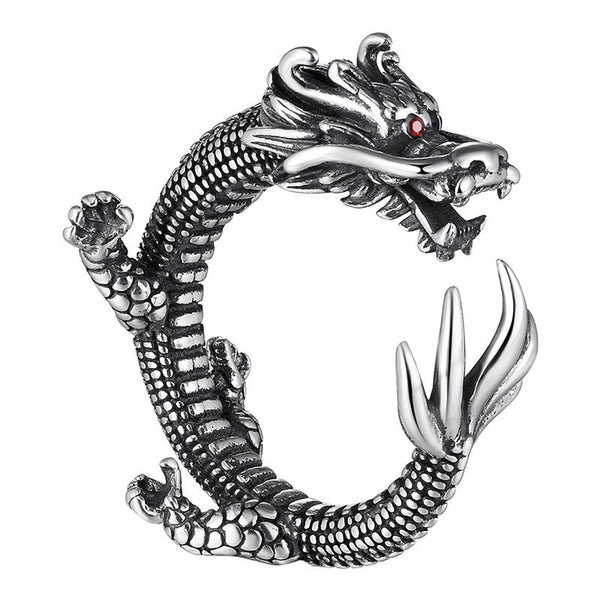 Mens Dragon Ring Sterling Silver Resizable