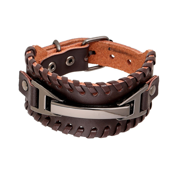 Mens Leather Cuff Bracelet Brown - Metal Charm
