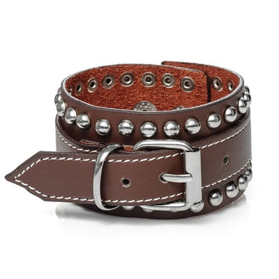 Mens Leather Cuff Bracelet Studded - Brown