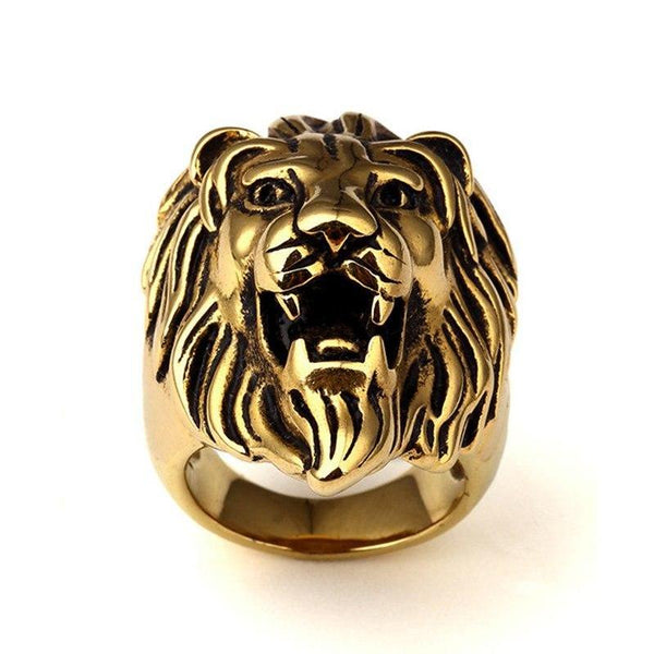 Mens Lion Ring Stainless Steel Gold