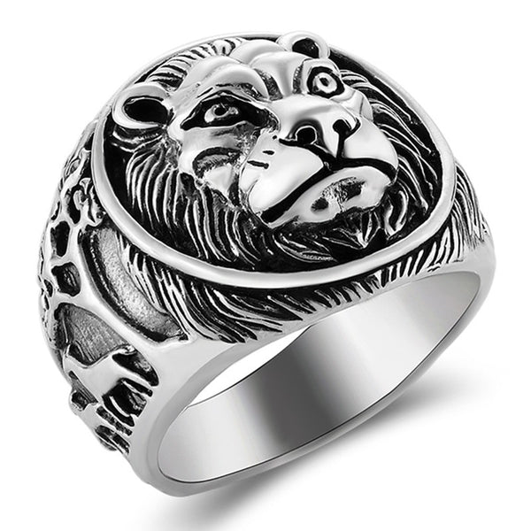Mens Lion Ring Sterling Silver