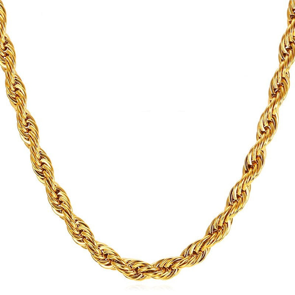 Mens Rope Chain - 6mm - Gold