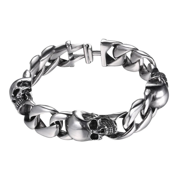 Mens Skull Bracelet Stainless Steel Links - Silver