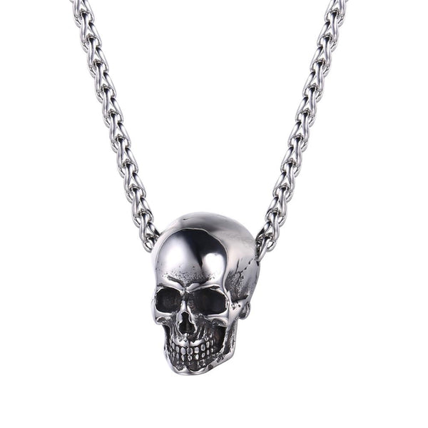 Mens Skull Necklace - Silver Skull Pendant