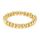 Stainless Steel Bead Bracelet for Men - Gold