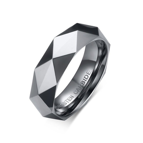Mens Faceted Tungsten Carbide Ring - Silver