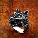 Mens Wolf Ring Stainless Steel